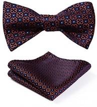 BIYINI Men's Paisley Floral Jacquard Woven Wedding Party Self Bow Tie Set Navy - $24.12