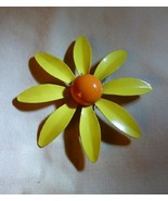 """Lovely Vintage 1960s DAISY PIN 2 5/8"""" Yellow & Orange Painted Metal Flow... - $25.00"""