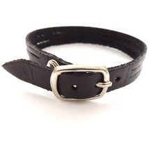 BLACK QUALITY THREE STRAP BANDED LEATHER BRACELET CUFF WITH BUCKLE FASTENER image 2