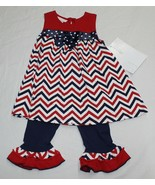 New Baby Toddler Girl Bonnie Jean Outfit Patriotic 4th July 24M 2T 4T Sl... - $16.99
