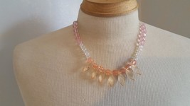 "18""ARTSY ARTISAN WIRE FASHION PINK CLEAR CRYSTAL NECKLACE,CUSTOM DESIGN,... - $4.94"