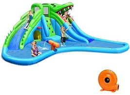 Costzon Inflatable Water Slide, Giant 7 in 1 Crocodile Water Park w/Double Slide - $1,415.70