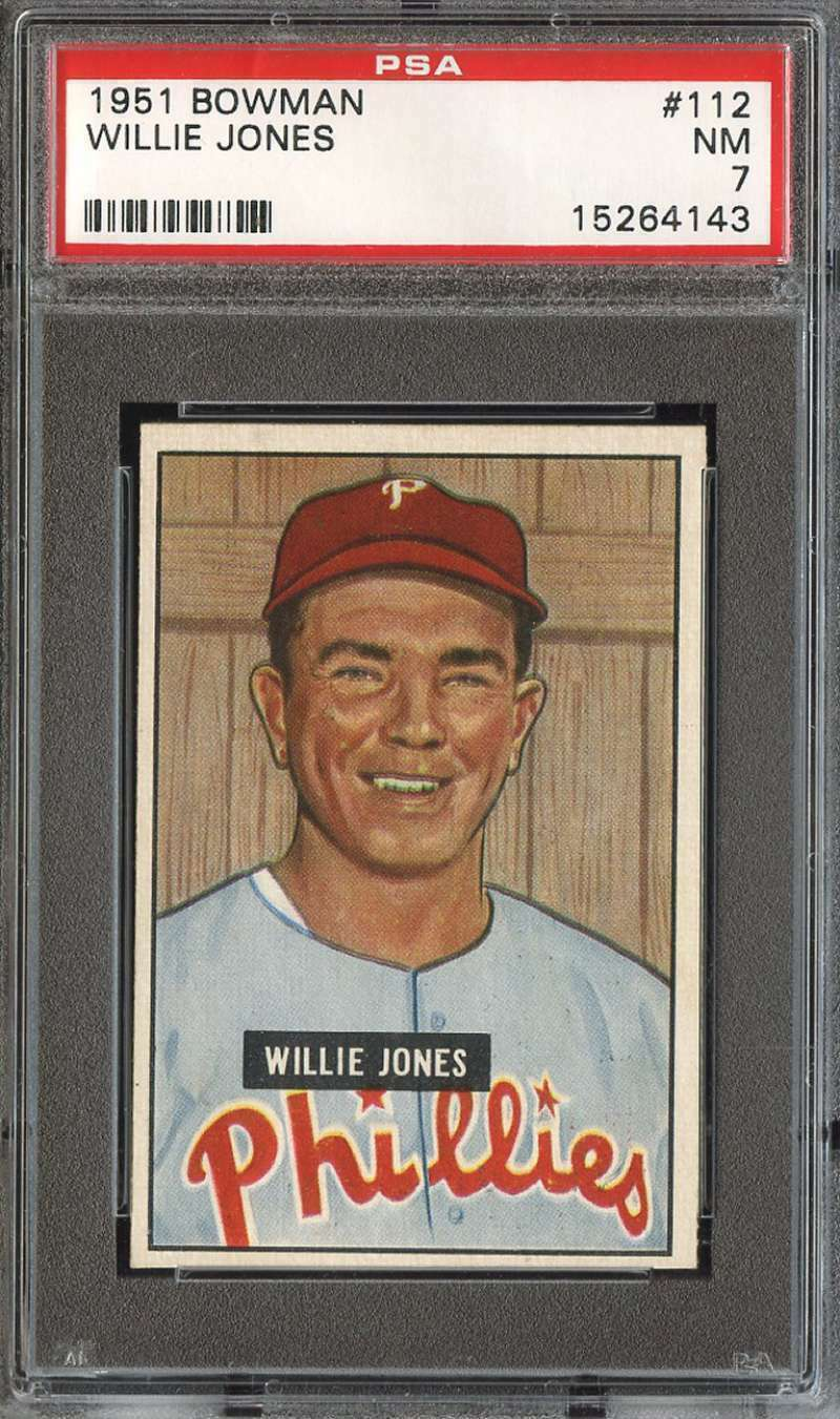 Primary image for 1951 Bowman Baseball Card  #112 Willie Jones PSA 7 Phillies NM
