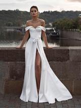 Deluxe Off Shoulder Princess A Line Satin High Split Wedding Dress image 6