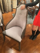 GRAY FAUX LEATHER & LINEN PINE ACCENT HIGH BACK DINING CHAIR NICKEL NAIL... - $745.80