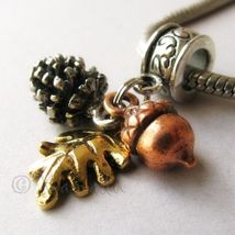 Autumn Treasures Silver Pine Cone Copper Acorn And Gold Leaf European Ch... - $30.00