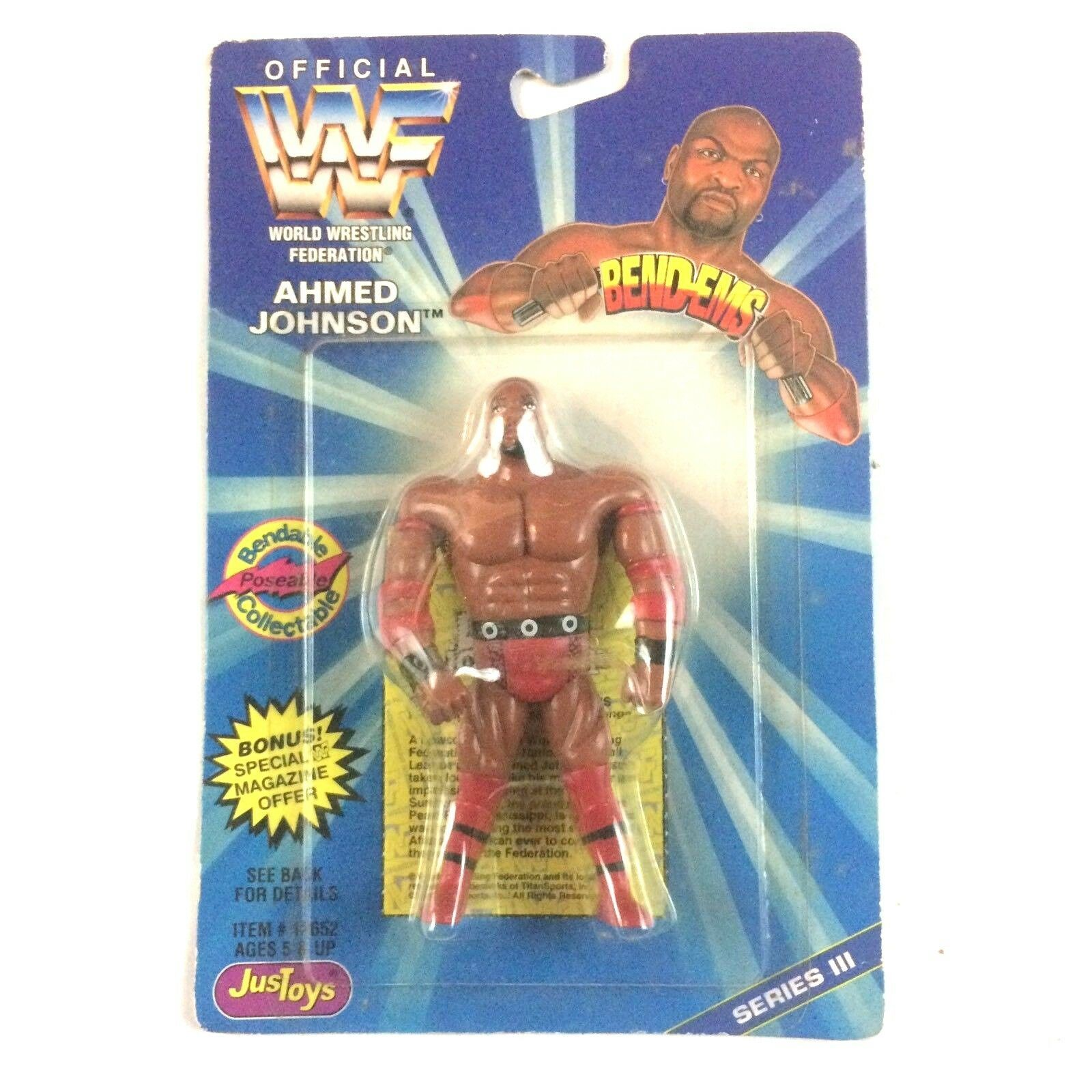 Ahmed Johnson WWF WWE JusToys Bend Em Figure 1996 Series 3 Sealed