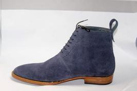 Handmade Men's Blue Suede Two Tone High Ankle Lace Up Boots image 1