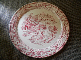 "Old Vintage Large 19"" Tray Platter Plate Red Country Farm Currier & Ives... - $149.99"