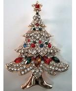 MULTI TIERED Multi Colored RHINESTONE CHRISTMAS TREE BROOCH PIN   - £11.46 GBP
