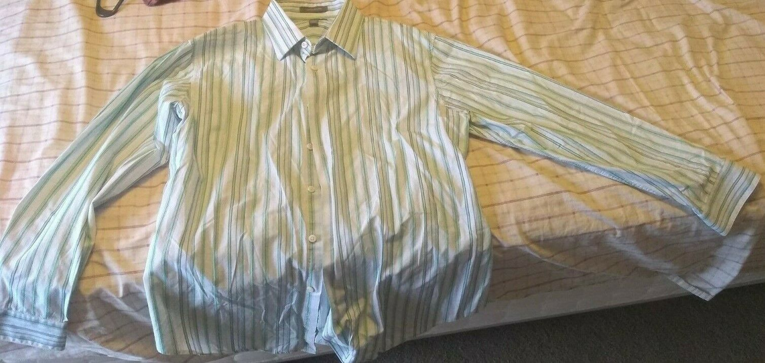Primary image for Apt. 9 Men's Button Down Dress Shirt Superfine 80s Cotton, Striped, Size L