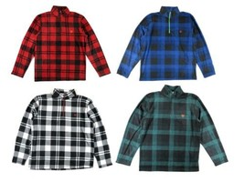 Men's CHAPS 1/2 Zip Pullover Brushed Fleece Shirt Checks NEW - $7.45
