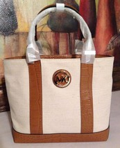 NWT Michael Kors Fulton Canvas Small Tote Ecru Luggage MSRP $178 - $119.99