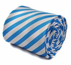 Frederick Thomas medium blue and white striped men's tie FT1770