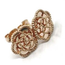 18K ROSE GOLD BOTTON FLOWER DAISY EARRINGS 14 MM, DOUBLE LAYER WORKED MIRROR image 4