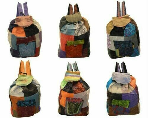 Primary image for UPCYCLED BOHO PATCHWORK BAG HIPPIE DRAWSTRING VINTAGE STYLE BACKPACK RUCKSACK
