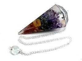 Seven Chakra Orgone 7 Orgonite REAL CRYSTAL Point Healing Dowsing Pendulum - $18.17