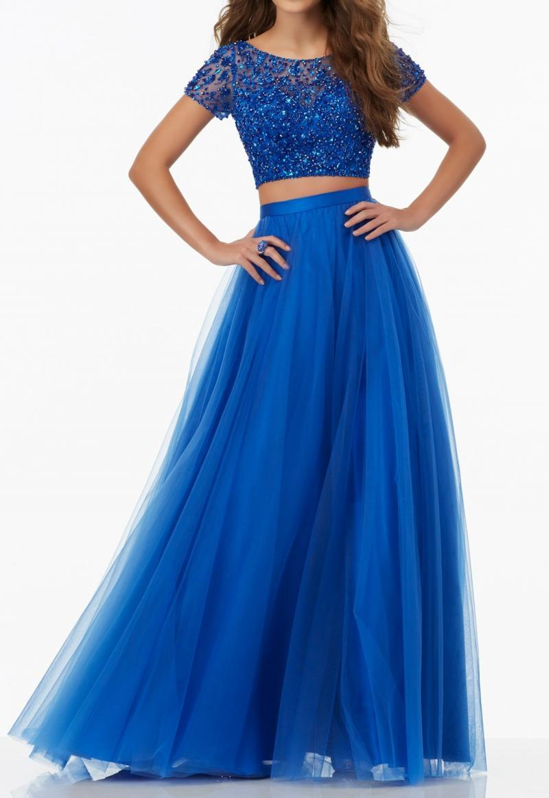 Two Piece Prom Dress Blue with Short Sleeves Tulle Formal Gown Homecoming Dress