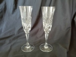 Gorham Crystal Serena Pattern 2 Toasting Champagne Flutes Rare Beautiful Cuts - $28.45