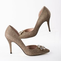 "Betsey Johnson Jemmaa Womens Bronze Gold Sparkle Heels Pumps Sz 10 Stiletto 4"" - $59.39"