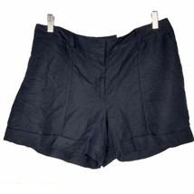 Ann Taylor Loft Womens Shorts 12 Cuffed Navy Blue Flat Front Pockets Lin... - $24.74