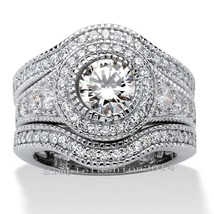 Size  6mm 5a Cz Gold Filled Round Cut Simulated Stones Wedding 3 Ring Se... - $30.58