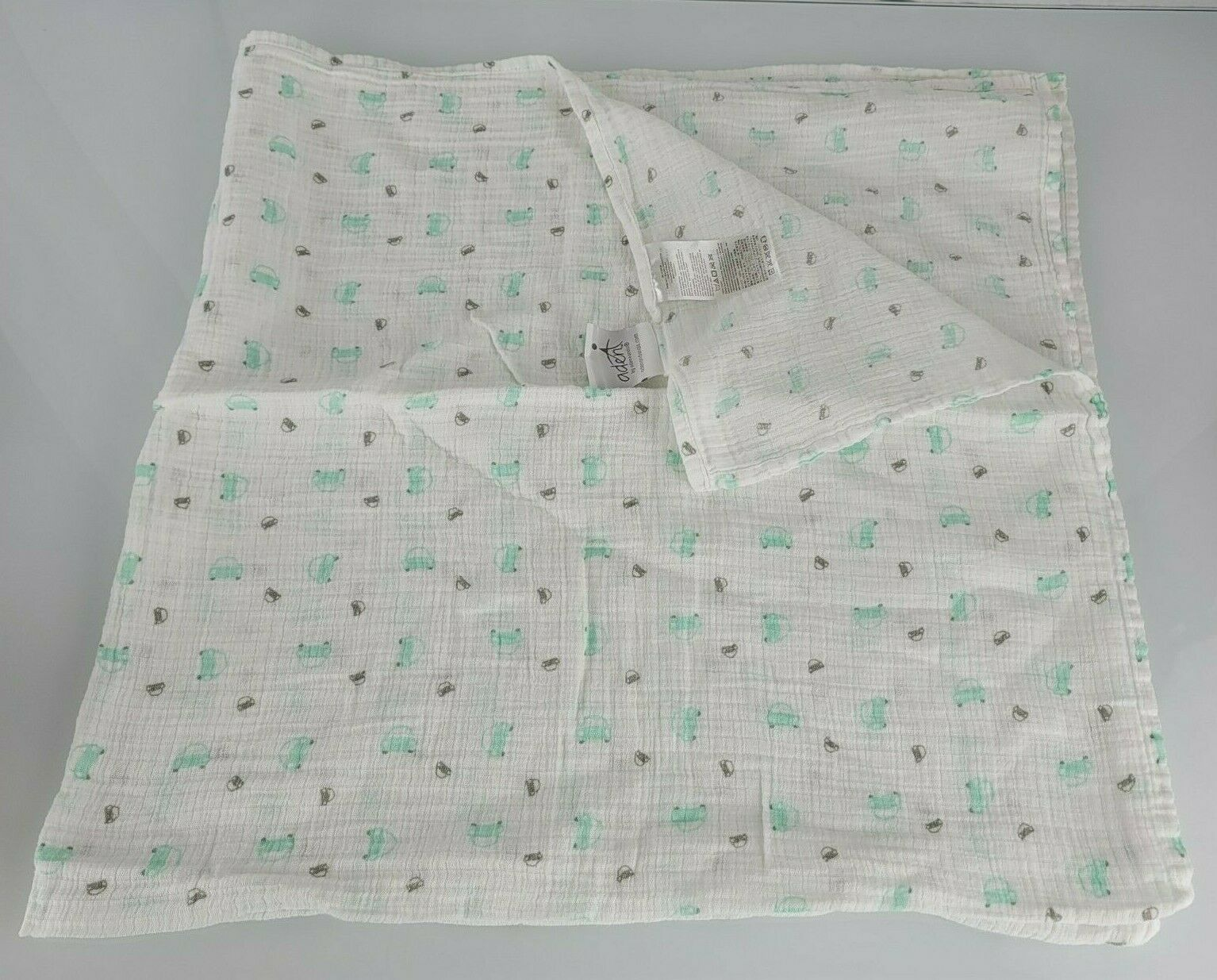 Primary image for Aden + Anais Mint Green Aqua Blue Gray White Car Muslin Cotton Baby Blanket
