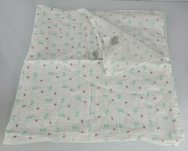 Aden + Anais Mint Green Aqua Blue Gray White Car Muslin Cotton Baby Blanket - $34.60