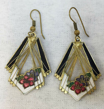 Earrings Enamel Brass Metal Red Flower Floral Metal Wire Dangle Drop Vin... - $14.84
