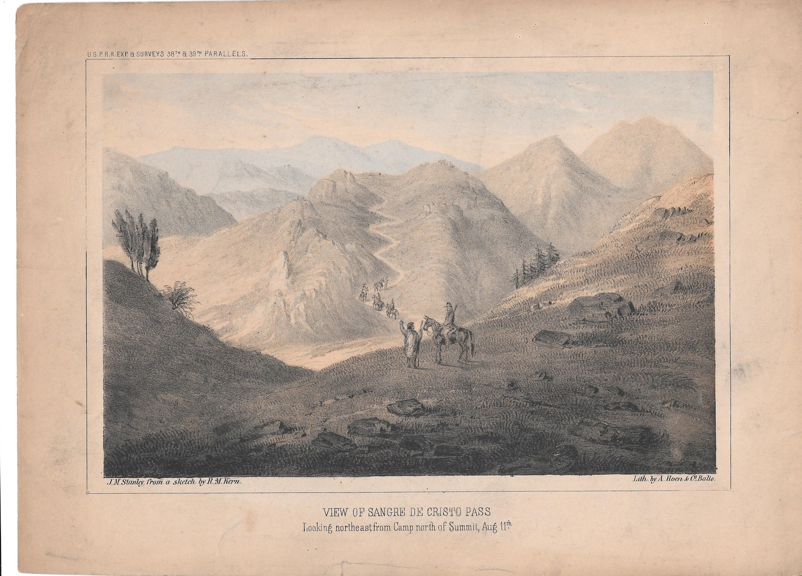 Primary image for Sangre de Cristo Pass USPRR Railroad Survey 38th 39th Parallel 1855 Lithograph