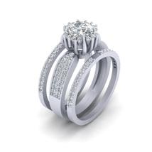 VVS-VS Clarity 0.80ct DEF Moissanite Halo Bridal Wedding Ring Set Promise Rings  - $1,689.99