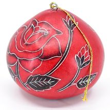Handcrafted Carved Gourd Art Red Rose Roses Floral Ornament Made in Peru image 3