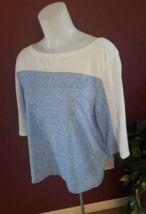Victoria Secret 3/4 Sleeve Baseball Shirt Top Blue & Cream Women's XS Loose - $6.44