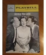 Playbill~ Never Too Late~ The Playhouse Paul Ford, Maureen O'sullivan, 1963 - $5.93