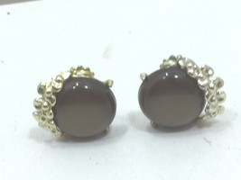 Vintage Taupe Goldtone Button Clip on Earrings Disk 24235 - $7.99