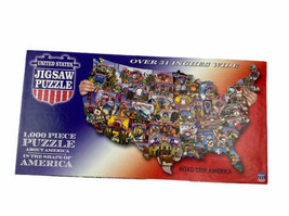 """Road Trip America 1000 Piece Jigsaw Puzzle About America Shape 31"""" Wide ... - $17.73"""