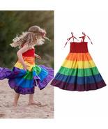 NWT Rainbow Girls Smocked Spaghetti Strap Twirl Dress 3T 4T 5T 6 7 - $12.99