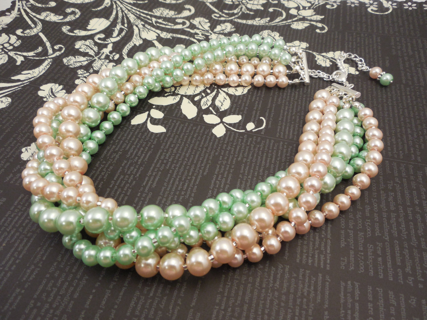Primary image for Multi Strand Choker Style Necklace with Blush Peach & Mint Green Glass Pearls