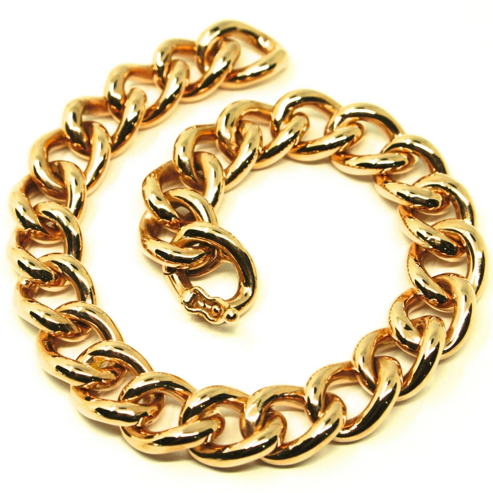 18K YELLOW GOLD BRACELET BIG ONDULATE ROUNDED GOURMETTE CUBAN CURB LINKS 9.5 mm