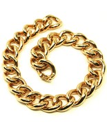 18K YELLOW GOLD BRACELET BIG ONDULATE ROUNDED GOURMETTE CUBAN CURB LINKS... - $2,438.00