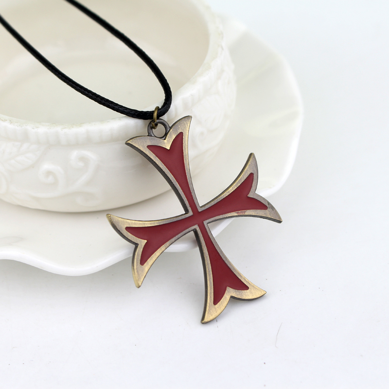 creed 3 templar necklace leather chain red cross pendant necklace for women men fashion jewelry