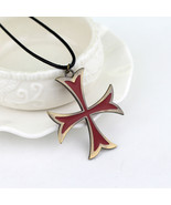 Assassins Creed 3 Templar Necklace Leather Chain Red Cross Pendant Neckl... - $12.90