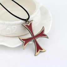 Templar necklace leather chain red cross pendant necklace for women men fashion jewelry thumb200