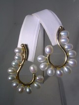 TREE BRANCH EARRINGS WITH SMOOTH SKIN OBLONG PEARLS SET IN 14KT YELLOW ... - $197.95