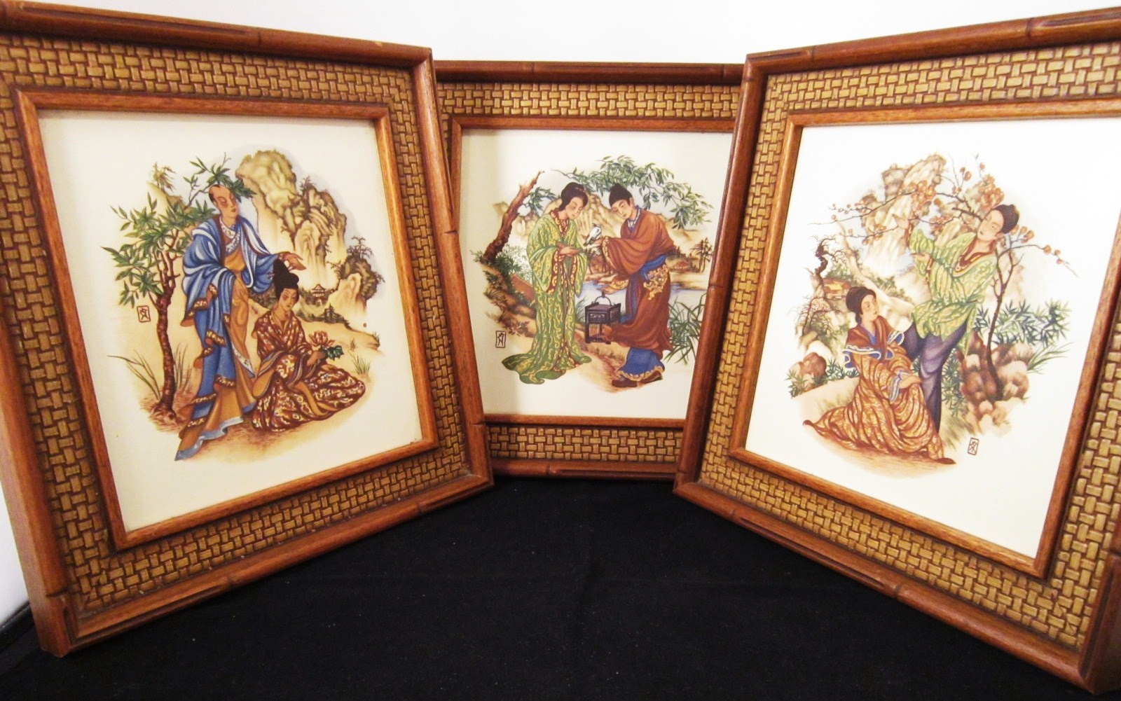 Primary image for Three Framed Art Tiles 1960s Greenville South Carolina