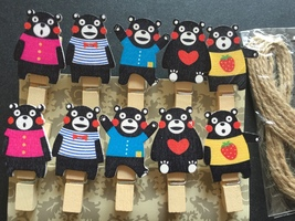 10pcs Special Kid's Birthday Party Favors,Wooden Clips with Hemp Rope,Clothespin - $0.90