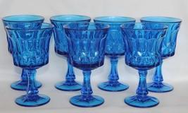 "7 Vtg Noritake Blue Perspective Heavy Large 4-7/8"" Water Goblets Disc 1995 Vgc - $68.99"