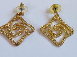 Fashion Gold Tone metal Clear Crystal Scroll Earrings - $24.75