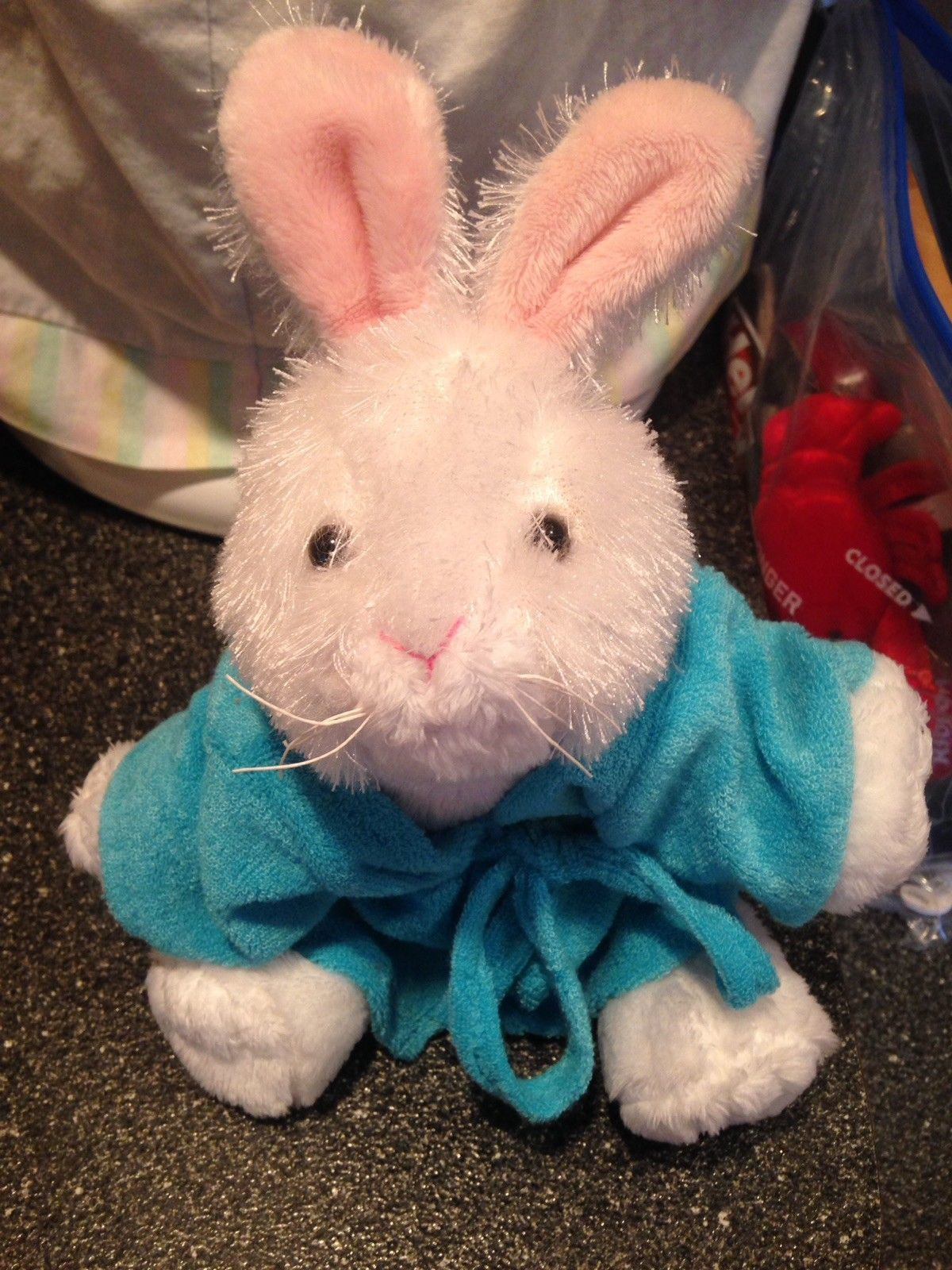 Ganz White Bunny Easter Rabbit Plush Webkinz Stuffed Beanie w Terry Cloth Robe