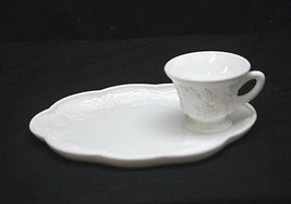 Old Vintage Harvest Milk Glass Colony Snack Plate & Punch Cup Set Grapes Leaves - $16.82